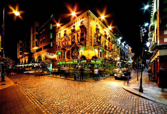 Night view of Temple Bar Street in Dublin, Ireland iStock_000026797803_Large-2