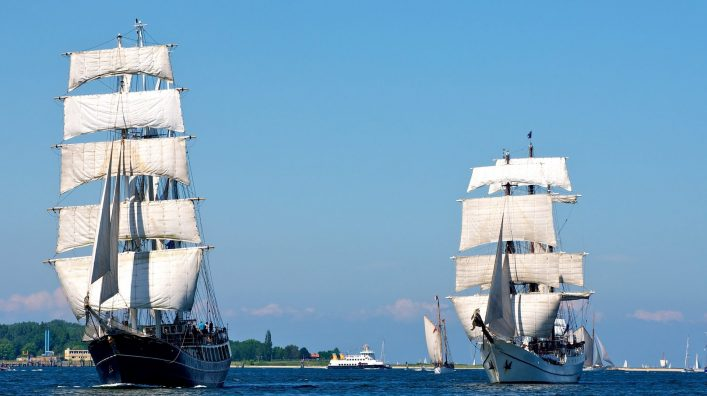 traditional sailing-ship in Kiel, Germany, on the Foerde, part of the baltic-sea shutterstock_56072578