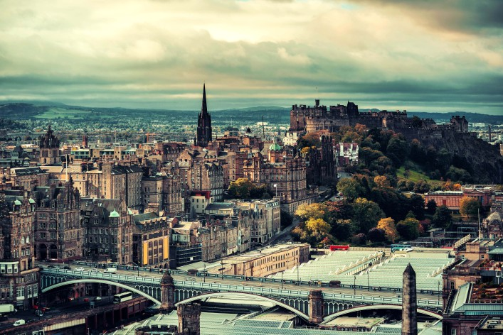 Edinburgh city skyline viewed from Calton Hill United Kingdom shutterstock_360029915-2