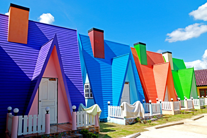 Colorful house in resort on blue sky shutterstock_444075982