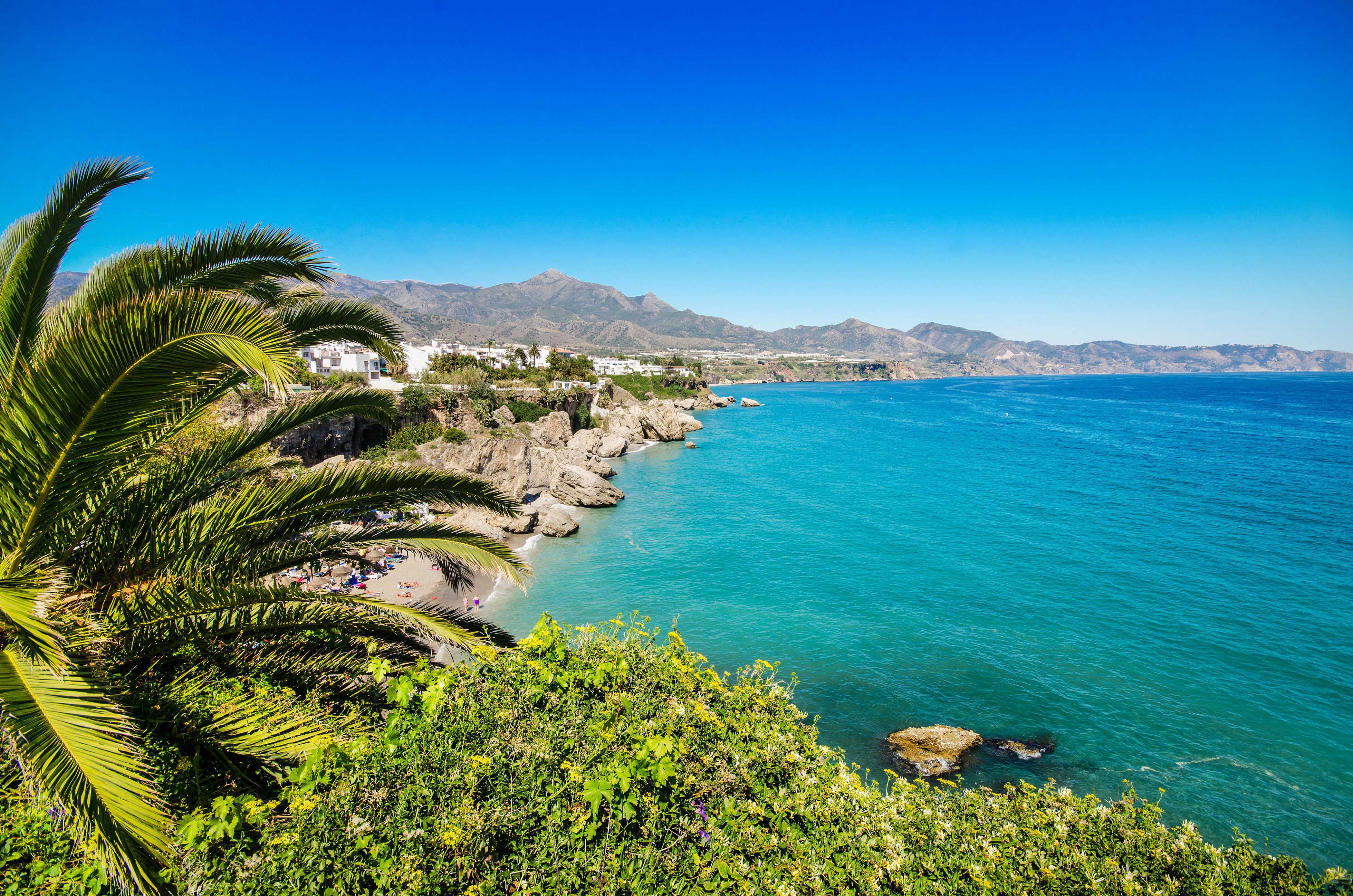 Andalusien, Nerja beach, famous touristic town, costa del sol, Málaga, Spain.