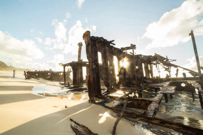 Iconic Maheno Shipwreck on Fraser Island