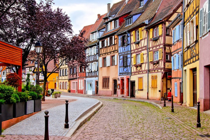 Quaint colorful houses of the Alsatian city of Colmar, France shutterstock_436894867-2