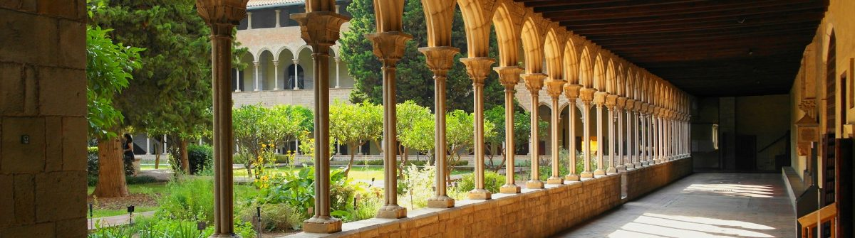 Pedralbes, Barcelona, Spain. Columns of the monastery