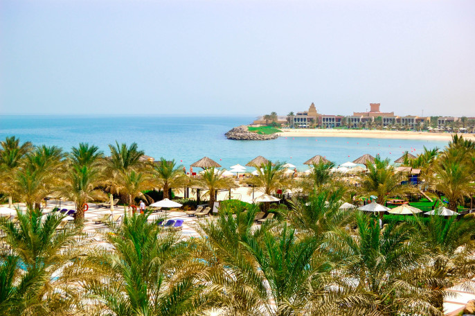 Recreation area of luxury hotel and beach with luxury villas, Ras Al Khaimah, UAE shutterstock_109177196