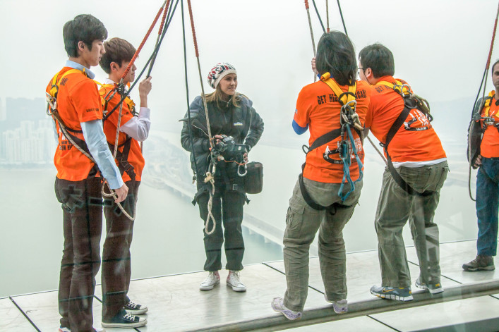 People training before bungee jump and sky walk at Macau