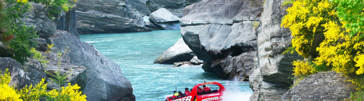 Speed boat ride on Queenstown's Shotover river shutterstock_330270605 EDITORIAL ONLY