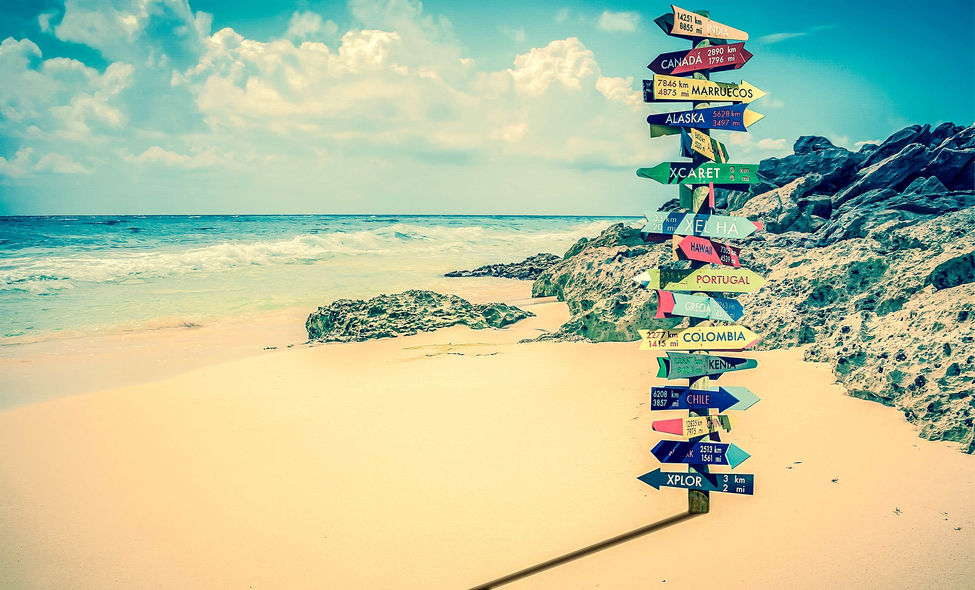 Signpost on the beach