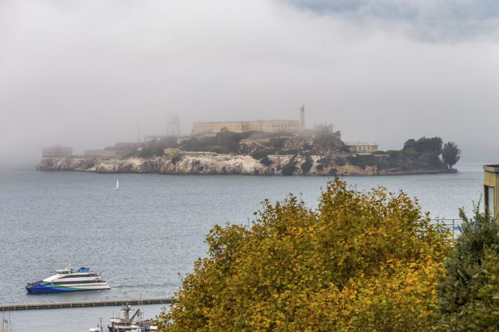 Alcatraz Island under Fog in San Francisco