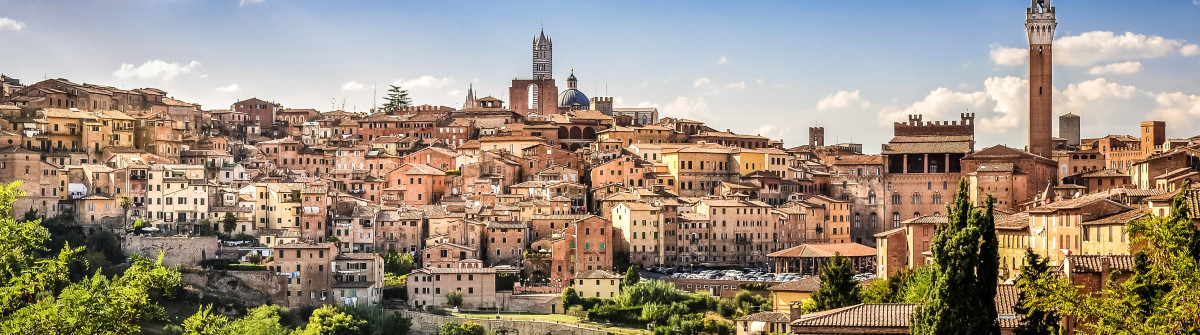 Scenic view of Siena town and historical houses