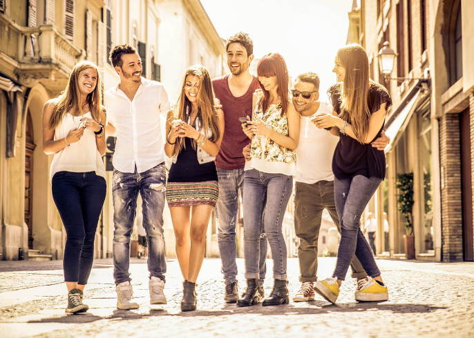 group of friends meeting in the city center shutterstock_285968882-2