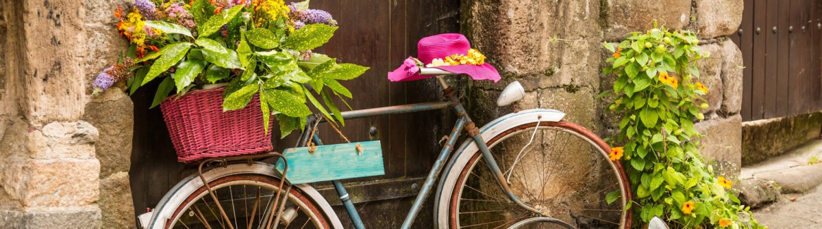 shutterstock_old bike_street_flowers_150617546