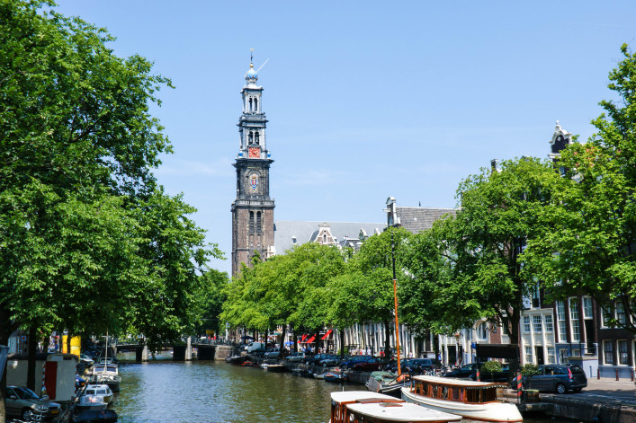 The view on the bell tower named Westertoren of Westerkerk shutterstock_148677704-2