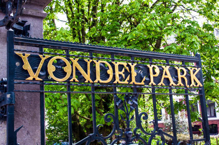 Vondelpark in Amsterdam, letters on the fence