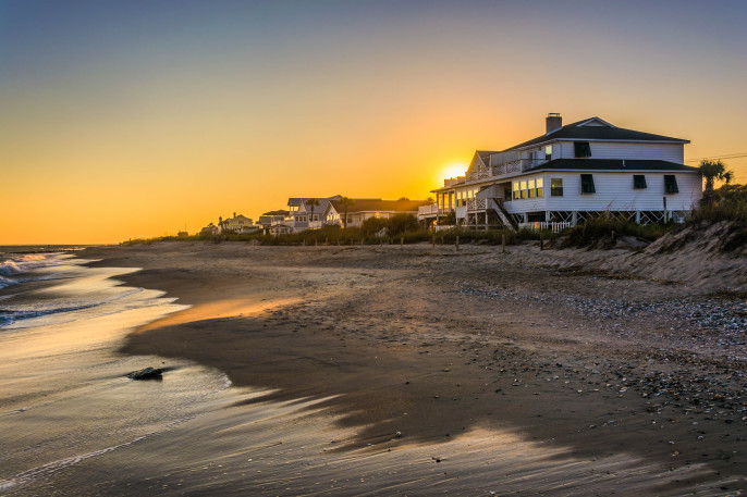 Sunset over beachfront homes at Edisto Beach, South Carolina shutterstock_230325928-2