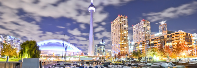 Toronto skyline at night in Ontario_shutterstock_311349374
