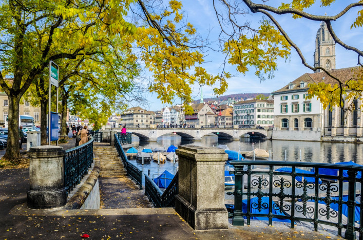 view of an alley leading next to the limmat river in the swiss city zurich shutterstock_399508495-2