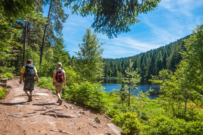 Hikers at the Herrenwieser See, Westweg, Forbach, Black Forest, Baden-Wuerttemberg, Germany shutterstock_275298065-2