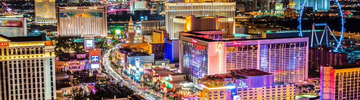 Las Vegas Strip at night – high vantage iStock_000082066557_Large-2