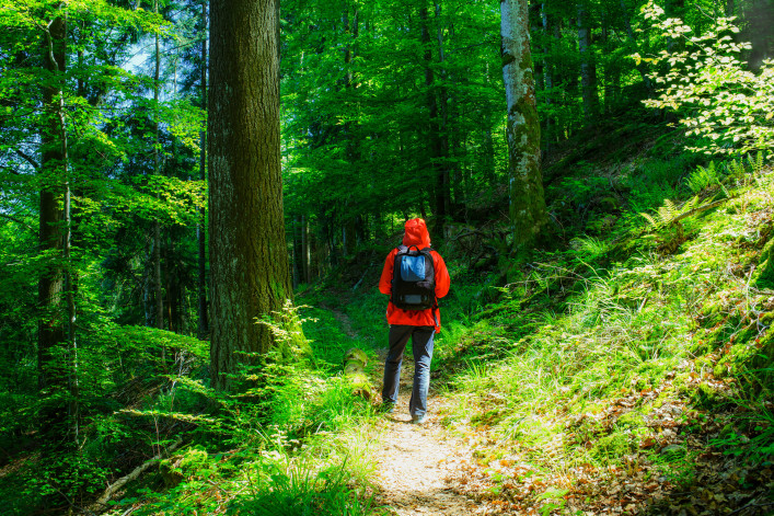 Man wearing red raincoat and a rucksack hiking in mountain forest in summer shutterstock_321777881-2