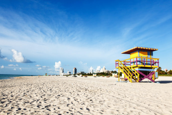 A Lifeguard stand along the shores of Miami Beach