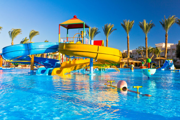 """1-2-FLY """"Palm trees, pool and water slides in luxury tropical resortSee more EGYPT images here:"""""""