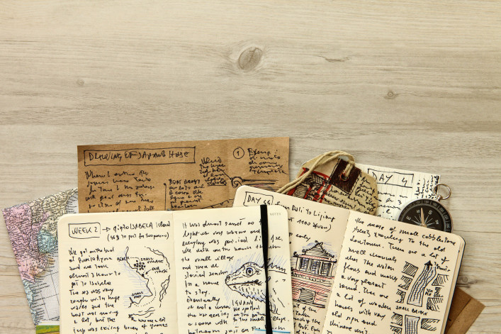 Handwritten travel diary, drawing journal storytelling, memories, souvenirs, adventurous journeys