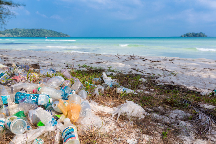 Plastic bottles, garbage and wastes on the beach, Koh Rong