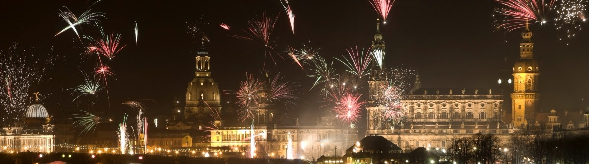 New Year celebrations in Dresden with fireworks