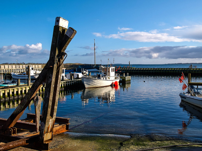 Small fishing boats in a harbour at Funen Denmark
