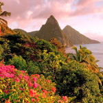 St. Lucia's Twin Pitons at Sunset