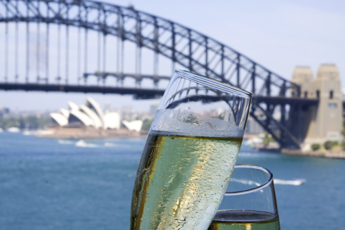 Champagne overlooking sydney harbour bridge