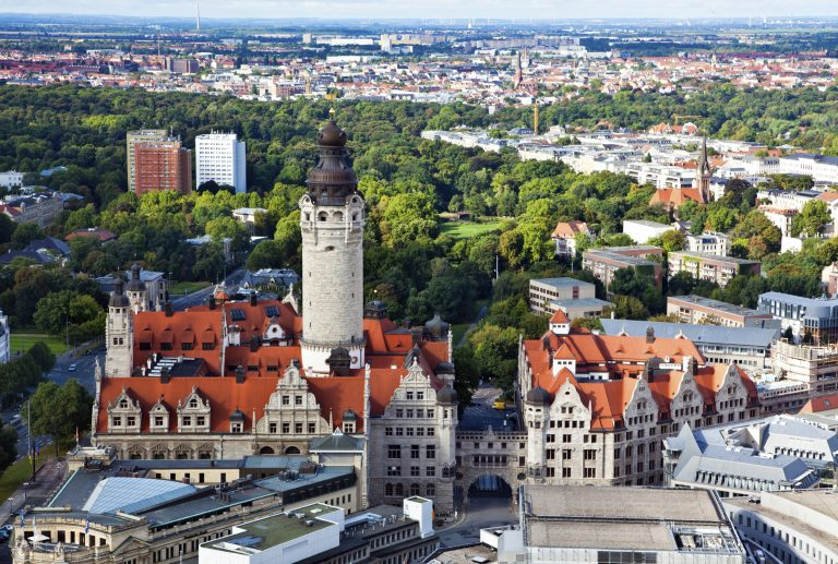Aerial of Leipzig with new townhall and Johannapark