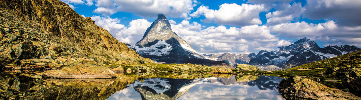 Swiss beauty, Riffelsee lake with Matterhorn mount reflexion shutterstock_299052143-2