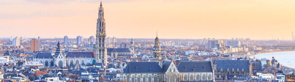 View over Antwerp with cathedral of our lady taken