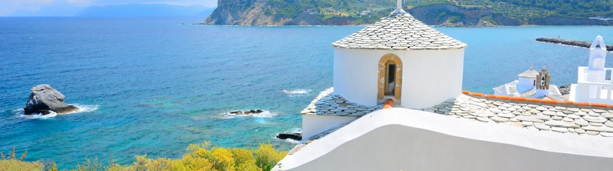 Beautiful white church above Skopelos, Greece