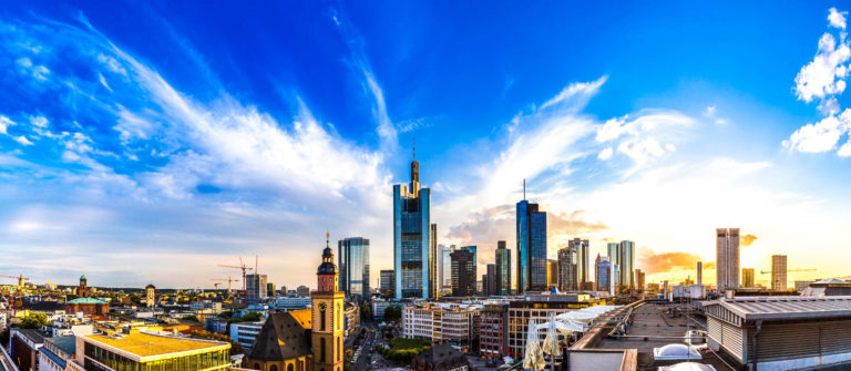 Aerial view of Frankfurt with Hauptwachen at sunset shutterstock_287388986-2
