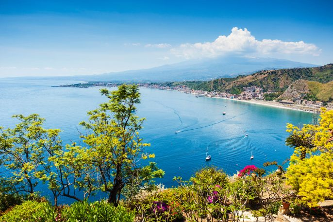 Scenic view of Taormina coastline in Sicily