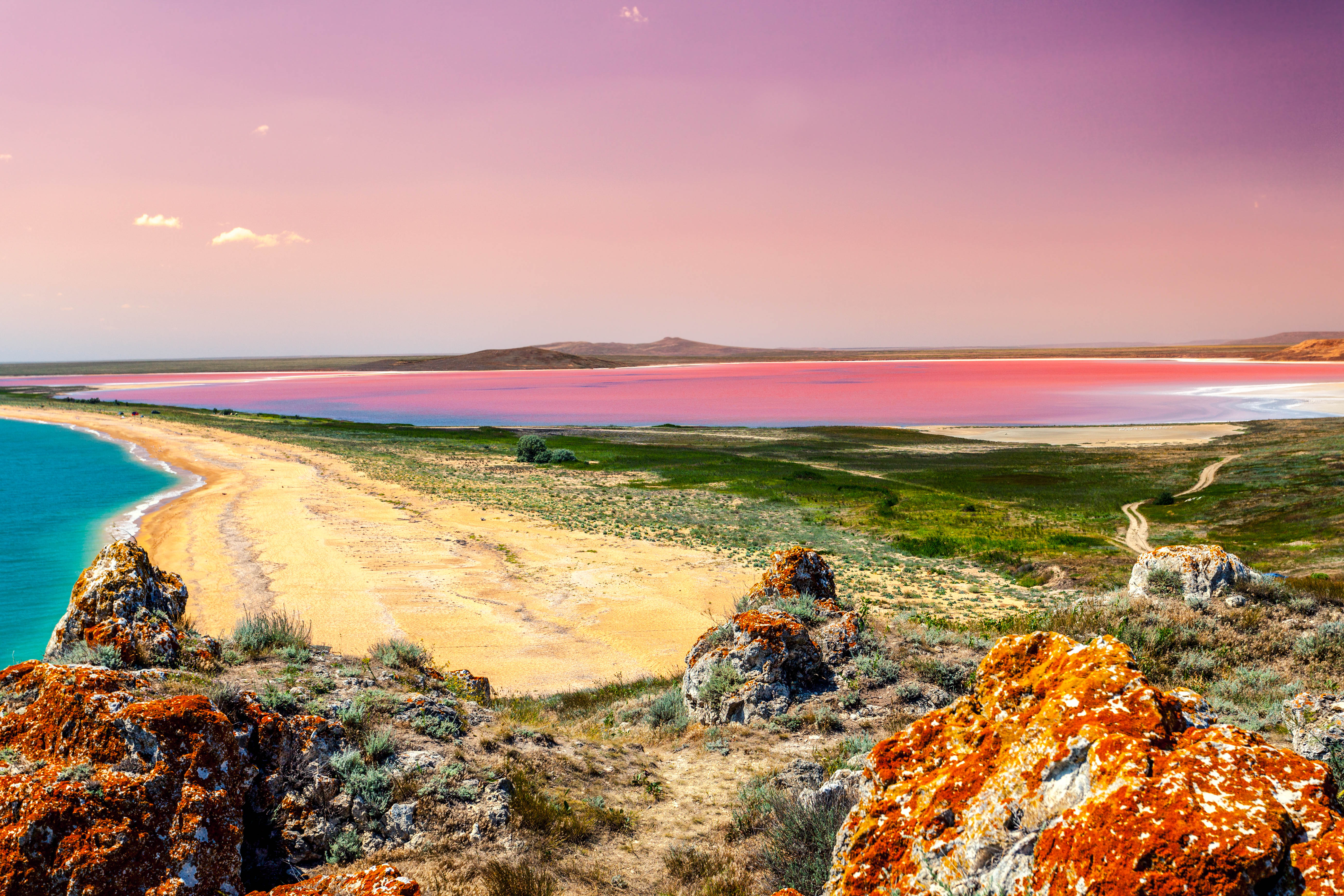 der pinke Lake Hillier in Westaustralien