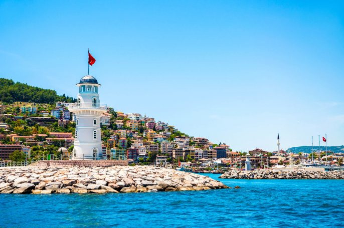 Lighthouse in the port of Alanya, Turkey