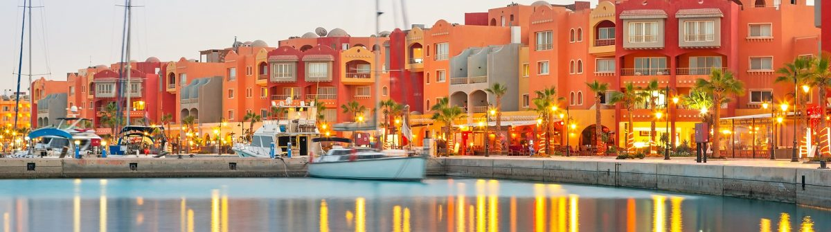 Beautiful architecture of Hurghada Marina at dusk in Egypt shutterstock_154950533