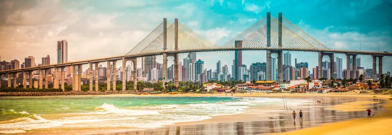 City of Natal beach with Navarro Bridge, Brazil – vintage look