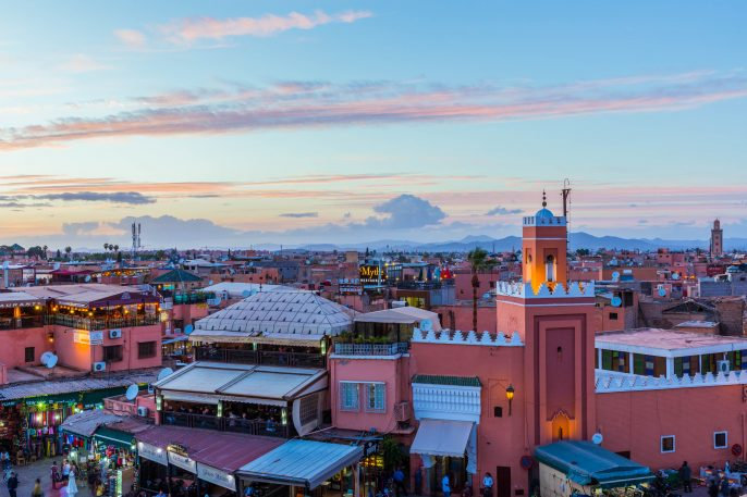 Sunset over the Souks of Marrakech, Morocco