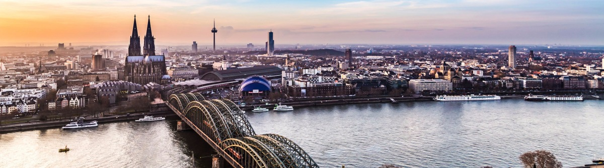 aerial of cologne in sunset