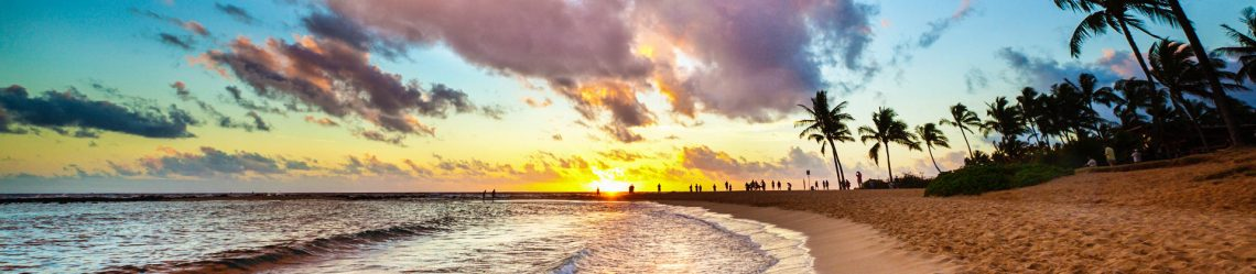 Sunset at Tropical Poipu Beach of Kauai, Hawaii iStock_66995317_XLARGE-2