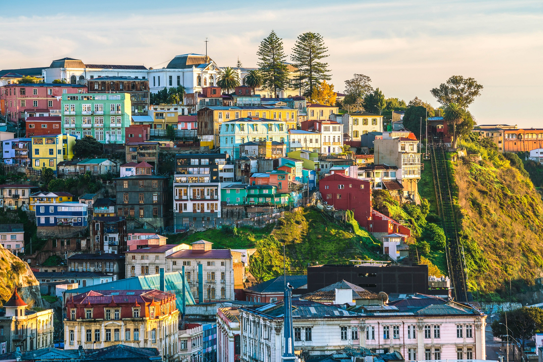 Colorful buildings of the UNESCO World Heritage city of Valparaiso
