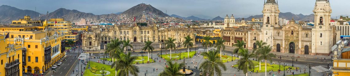Panoramic view of the main square of Lima, Peru._shutterstock_391854592