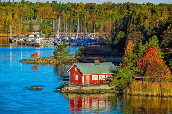 Red house on rocky shore of Ruissalo island, Finland