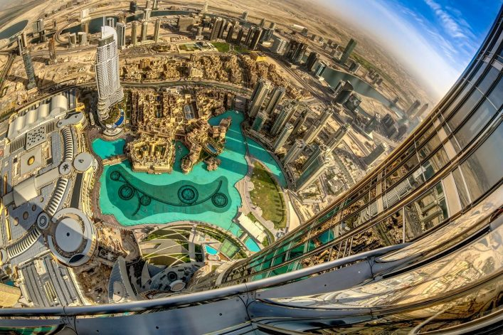 Burj Khalifa, Dubai At the Top View iStock-500143335