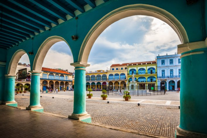 The Old Square or Plaza Vieja from the porch of the Fototeca de Cuba, Old Havana, Cuba shutterstock_327158990-2